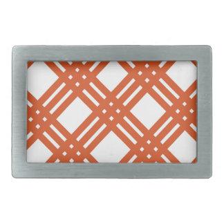 Orange and White Gingham Rectangular Belt Buckle