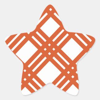 Orange and White Gingham Star Sticker