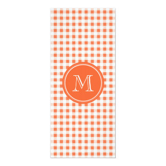 orange and White Gingham, Your Monogram Card