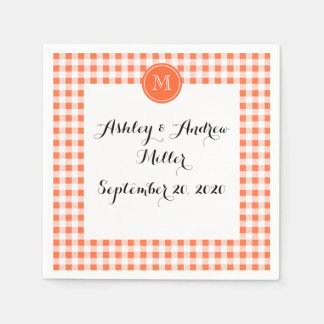 orange and White Gingham, Your Monogram Napkin