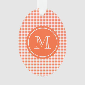 orange and White Gingham, Your Monogram Ornament