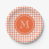 orange and White Gingham, Your Monogram Paper Plate