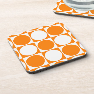 Orange and White Graphic Design Squares&Dots Coaster