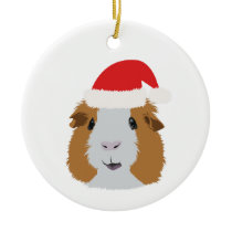 Orange and White Guinea Pig Ceramic Ornament