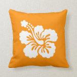 Orange and White Hibiscus Pillow