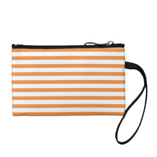 Orange and White Horizontal Stripe Change Purse