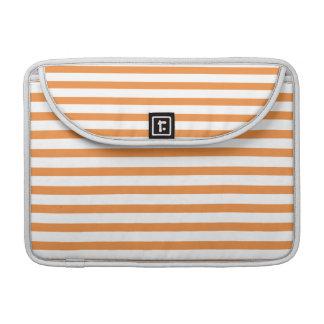 Orange and White Horizontal Stripe Sleeve For MacBooks