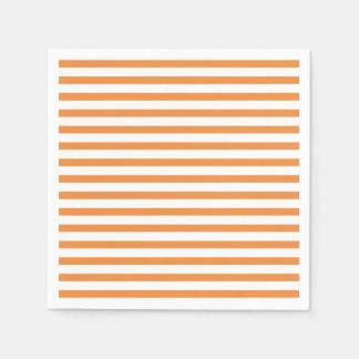 Orange and White Horizontal Stripe Paper Napkin