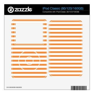 Orange and White Horizontal Stripe Skins For iPod