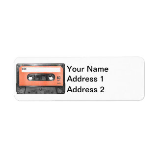 Orange and White Houndstooth Label Cassette