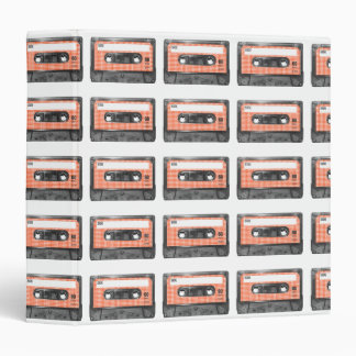 Orange and White Houndstooth Label Cassette 3 Ring Binder