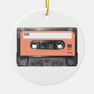 Orange and White Houndstooth Label Cassette Ceramic Ornament
