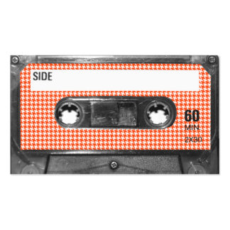 Orange and White Houndstooth Label Cassette Double-Sided Standard Business Cards (Pack Of 100)