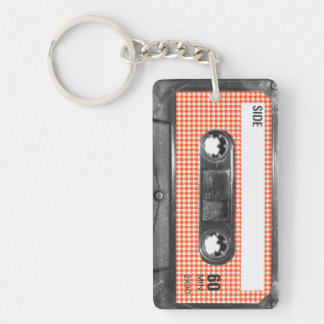 Orange and White Houndstooth Label Cassette Keychain