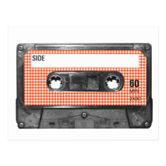 Orange and White Houndstooth Label Cassette Postcard