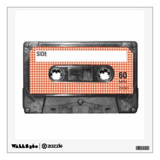 Orange and White Houndstooth Label Cassette Wall Skins