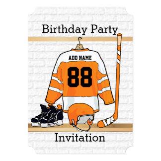 Orange and White Ice Hockey Jersey Birthday Party 5x7 Paper Invitation Card