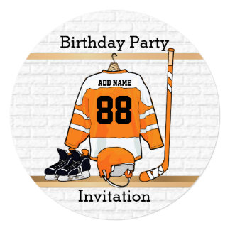 Orange and White Ice Hockey Jersey Birthday Party Card