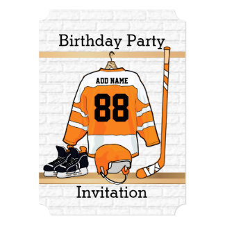 "Orange and White Ice Hockey Jersey Birthday Party 5"" X 7"" Invitation Card"