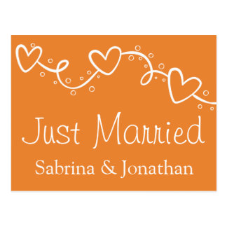 Orange And White Jest Married Wedding Hearts Postcard