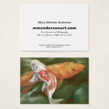 Professional Business Orange and White Koi Artist Business Card
