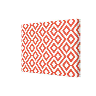 Orange and White Meander Gallery Wrapped Canvas