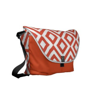 Orange and White Meander Courier Bag