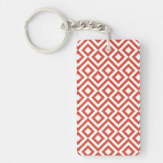 Orange and White Meander Double-Sided Rectangular Acrylic Keychain