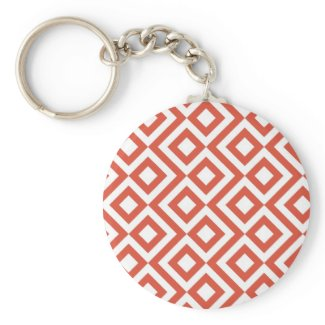 Orange and White Meander Keychain