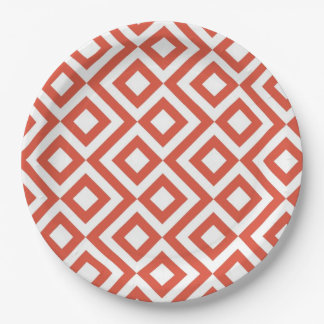 Orange and White Meander Paper Plate