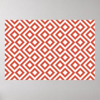 Orange and White Meander Poster