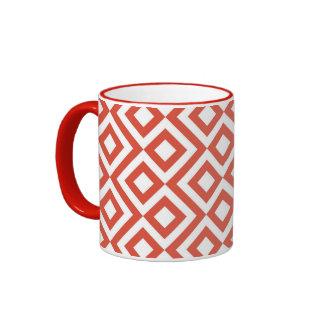 Orange and White Meander Ringer Mug