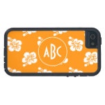 Orange and White Monogrammed Floral Pattern iPhone 5 Covers