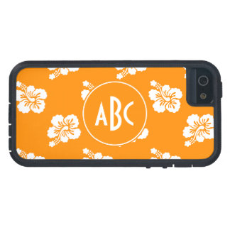 Orange and White Monogrammed Floral Pattern Case For iPhone SE/5/5s