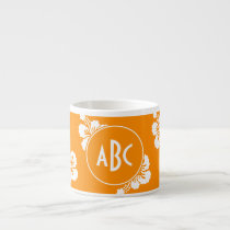 Orange and White Monogrammed Floral Pattern Espresso Cup