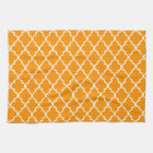 Orange And White Moroccan Trellis Pattern Hand Towel