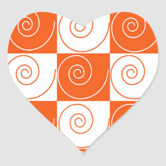 Orange and White Mouse Tails Heart Sticker