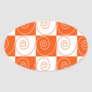 Orange and White Mouse Tails Oval Sticker
