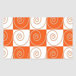 Orange and White Mouse Tails Rectangular Sticker