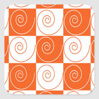 Orange and White Mouse Tails Square Sticker
