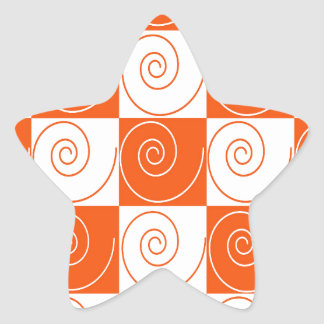 Orange and White Mouse Tails Star Sticker