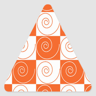 Orange and White Mouse Tails Triangle Sticker