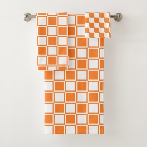 Orange and White Outlined Squares Bath Towel Set