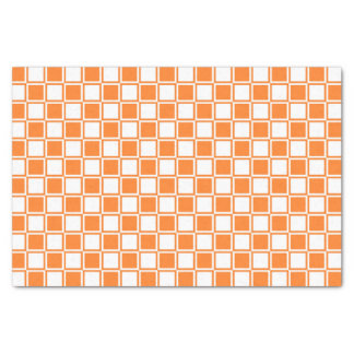Orange and White Outlined Squares Tissue Paper
