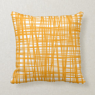 Orange and white pattern throw pillow