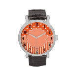 Orange and White Patterned Watch