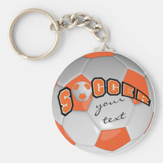 Orange and White Personalize Soccer Ball Basic Round Button Keychain