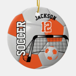 Orange and White Personalize Soccer Ball Ceramic Ornament
