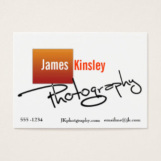 Orange and white photographer business card