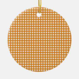 Orange and White Plaid Gingham Pattern Ceramic Ornament